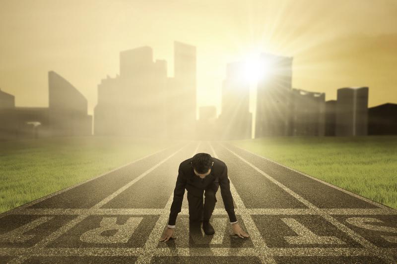 Success; entrepreneur, starting a business, starting line