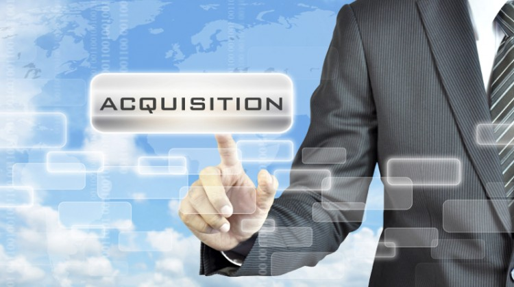 Businessman hand touching ACQUISITION word on virtual screen - business abstract