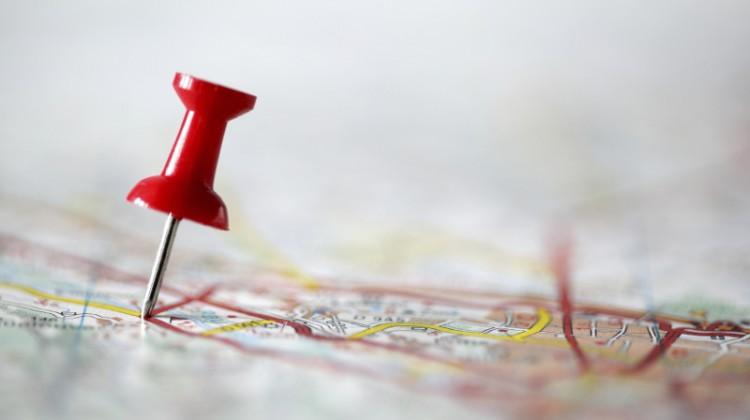 Pushpin on map region