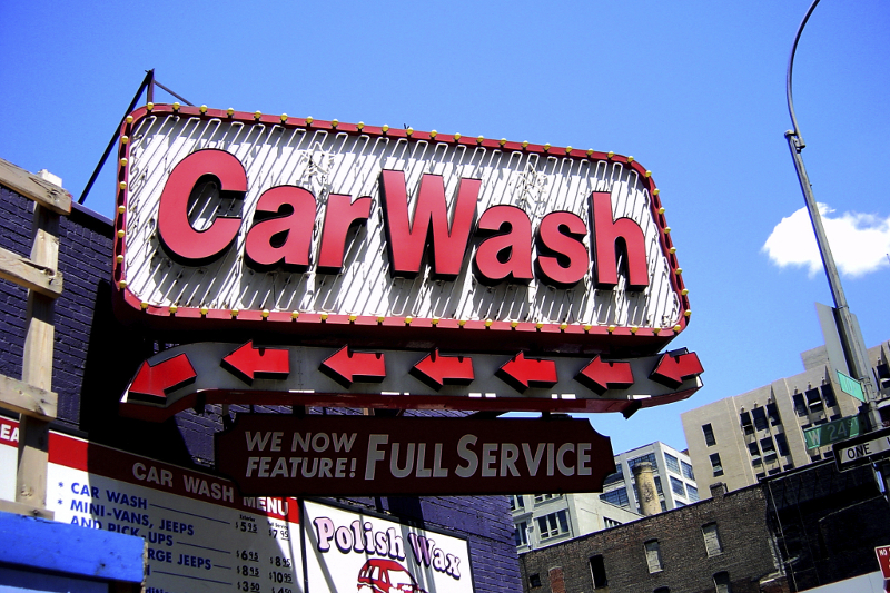 Signage, carwash, full-service, LED lighting