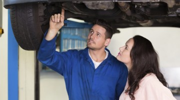 mechanic, services, rustproofing, customer, educating customer, showing customer, car care