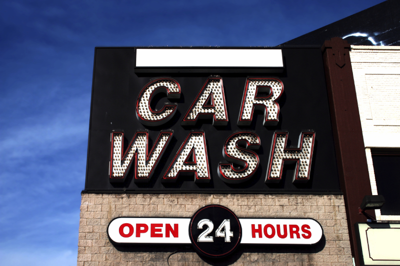 signage, carwash, car wash, car wash sign, signs, 24 hours, open 24 hours, LED, lighting, neon light