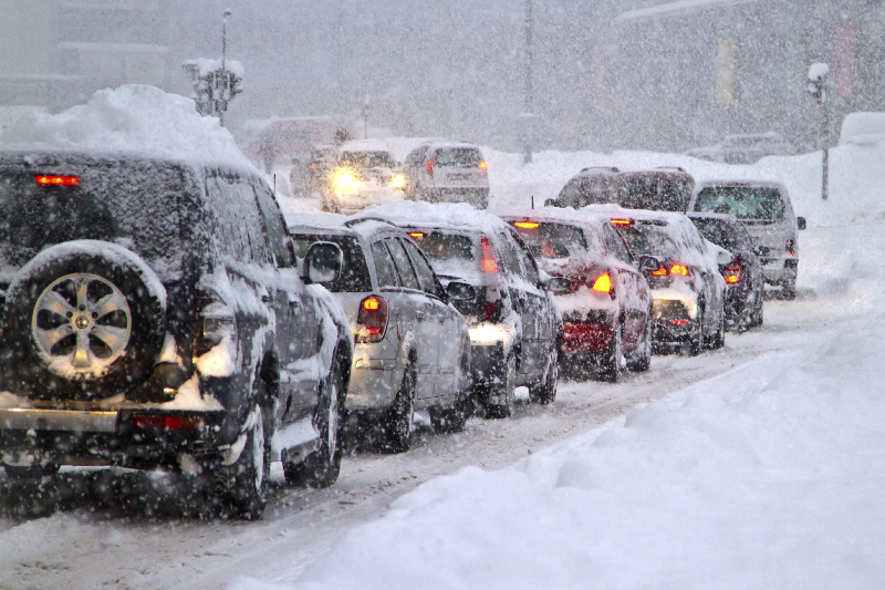 Winter, snow, line of cars, traffic