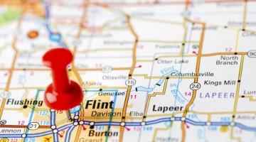 map, pin point, Flint, Michigan