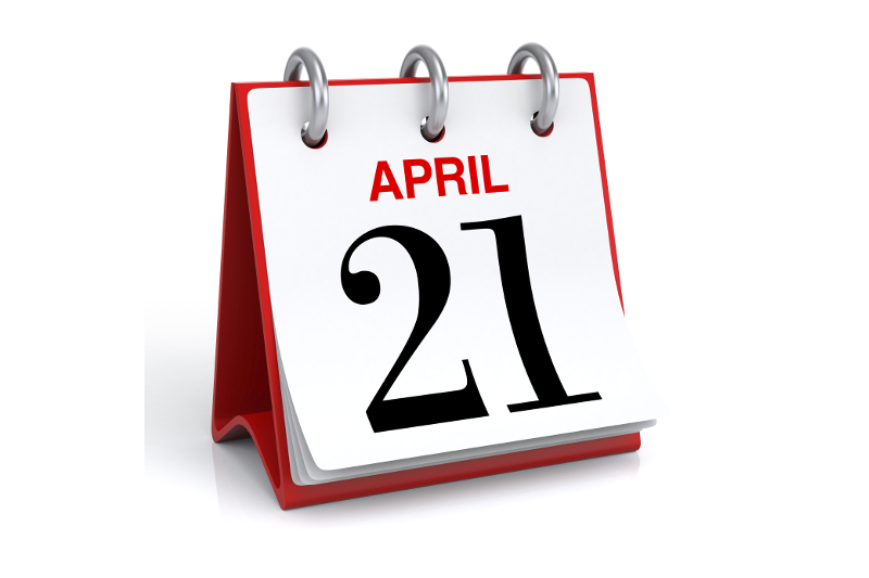 April 21, calendar, 21, April, event, day, date