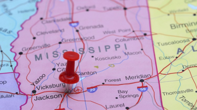 map, pin point, Mississippi, Jackson