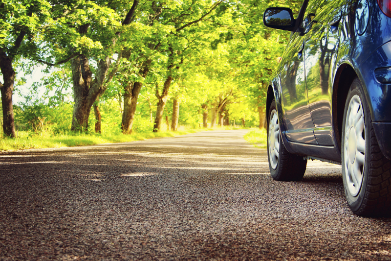 Spring, car on street, car on gravel, trees, sunny, nice weather, car care, tires, travel, sunlight, summer