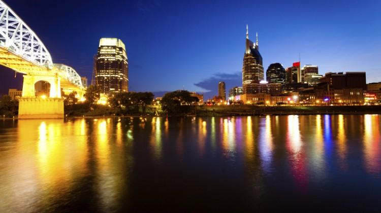 Nashville, Tenessee, Skyline, cityscape, city skyline, night, lights, bridge in Nashville