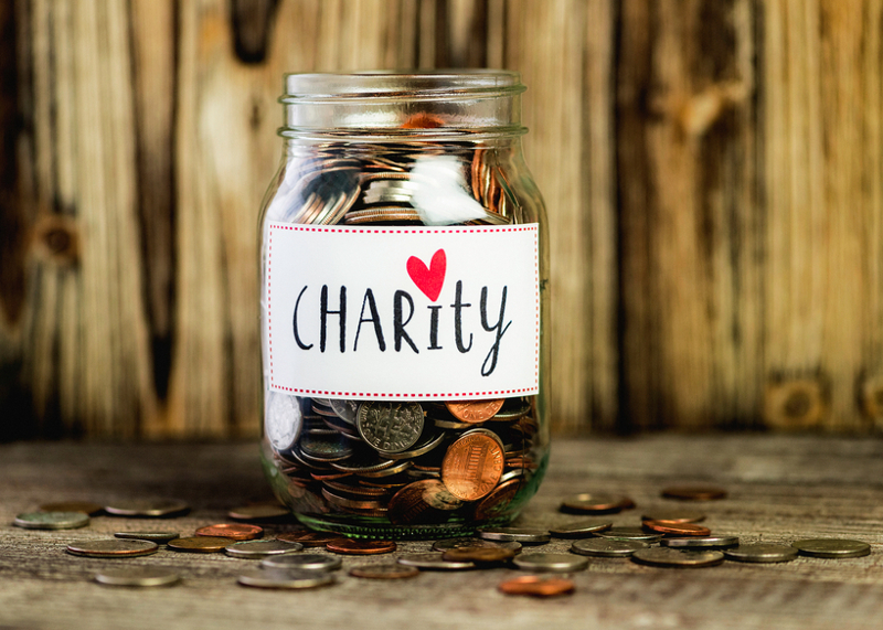 Charity, donation, giving, donation box, jar, coins, fundraiser.