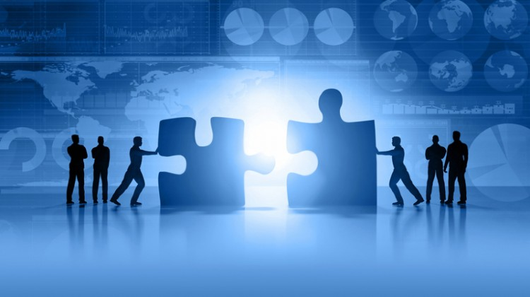 Acquisition, merger, business partnership, merging, puzzle, puzzle pieces, teamwork.