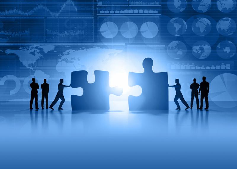 Acquisition, merger, business partnership, merging, puzzle, puzzle pieces, teamwork.