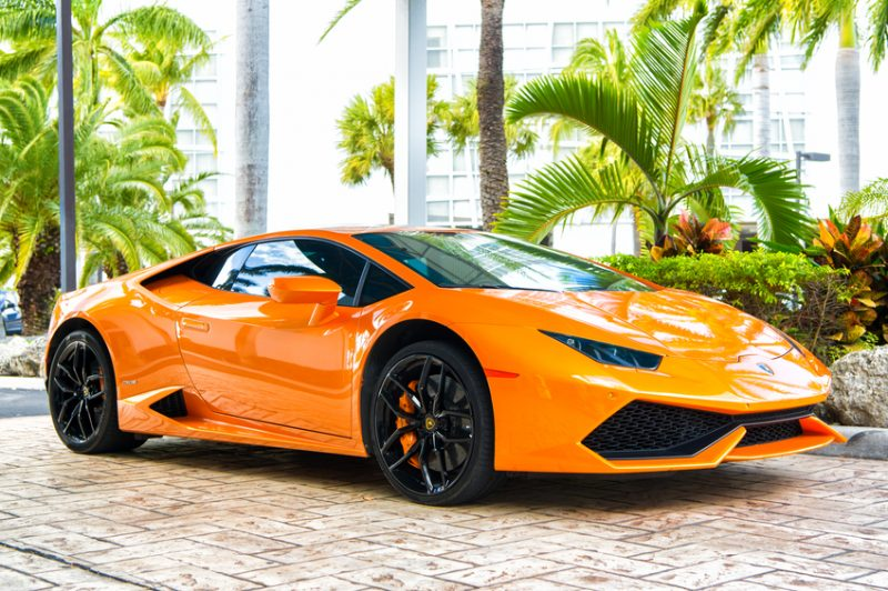 lamborghini, luxury car, luxury cars, palm trees, sports car, orange