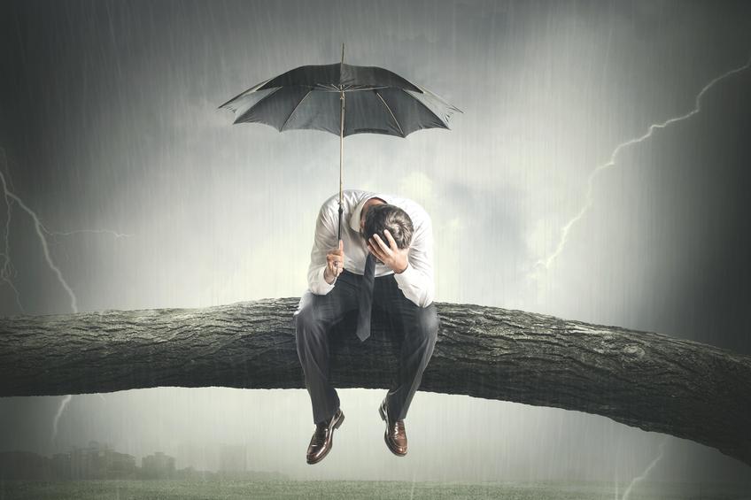 coping, stress, fatigue, setbacks, business setback, setback, storm, umbrella, tired, man