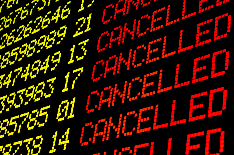 cancelled, flights, arrival departure board, cancellation, cancel, digital display, journey