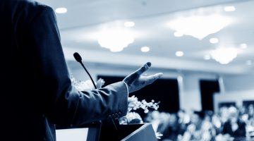 speaker, keynote speaker, podium, audience, speech