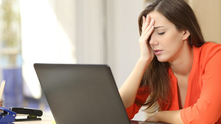 online branding, computer, woman, mistake, stress, tired, technology