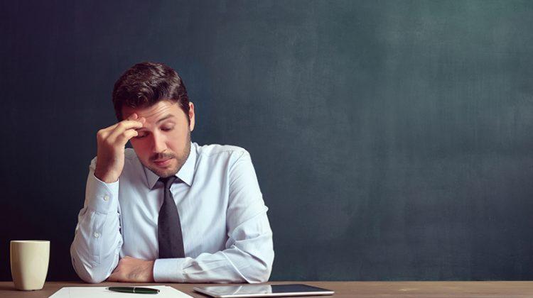 stagnation, depression, businessman, stuck in a rut, thinking