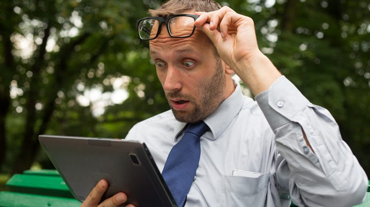 businessman, tablet, watching, glasses, surprised