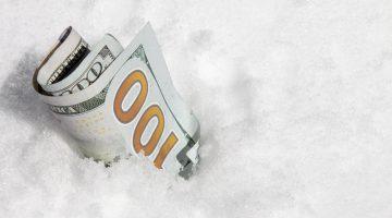 hundred dollar bill, snow, winter services, profit, additional profit center, money