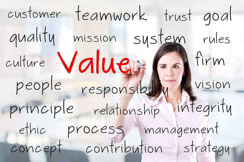 businesswoman, values, ethics, ethical business culture, words