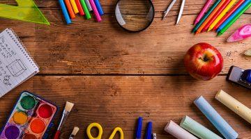 school supplies, education, desk