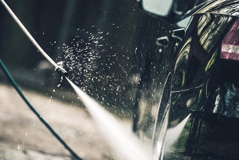 carwash hose, car, hose, water, pavement