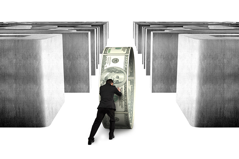 businessman, money, dollars, maze, financing, loans