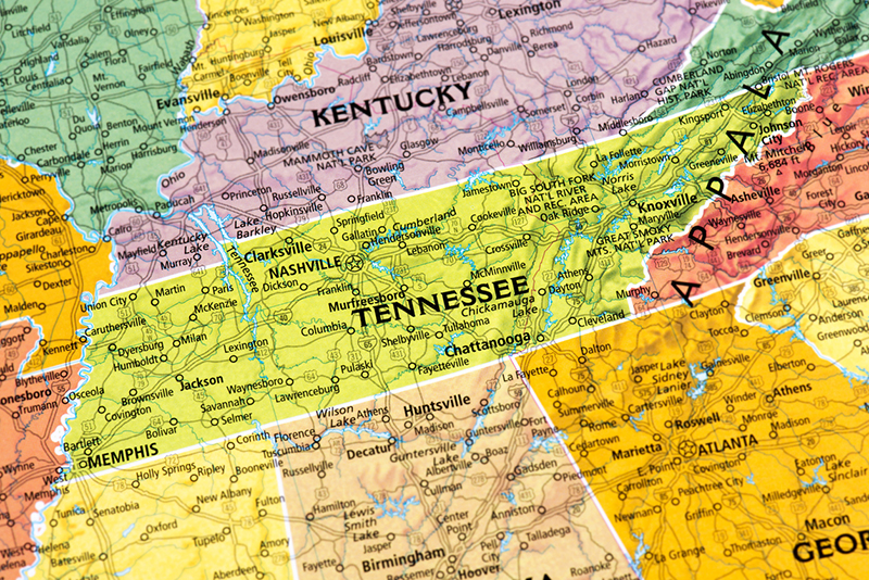 map, Tennessee, Kentucky, Southeast, states