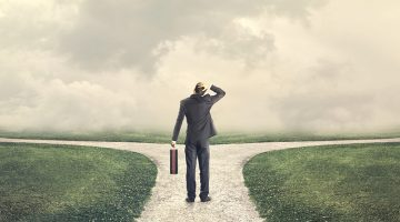 business decisions, choice, forked road, businessman