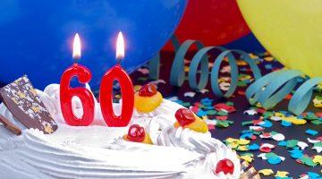 birthday, anniversary, 60, balloons, cake
