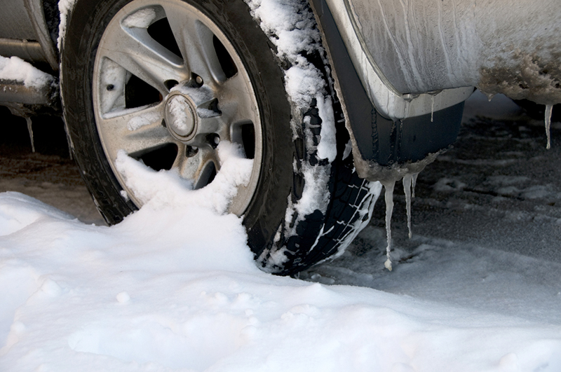 car, wheel, snow, slush, salt, icicles, corrosion, dirt