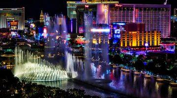Las Vegas, the Strip, lights, night, city, fountains