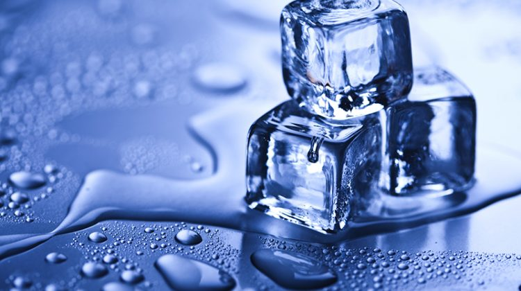 ice cubes, ice vending, melting, water, condensation