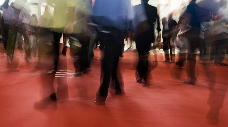 trade show, exhibition, people, floor