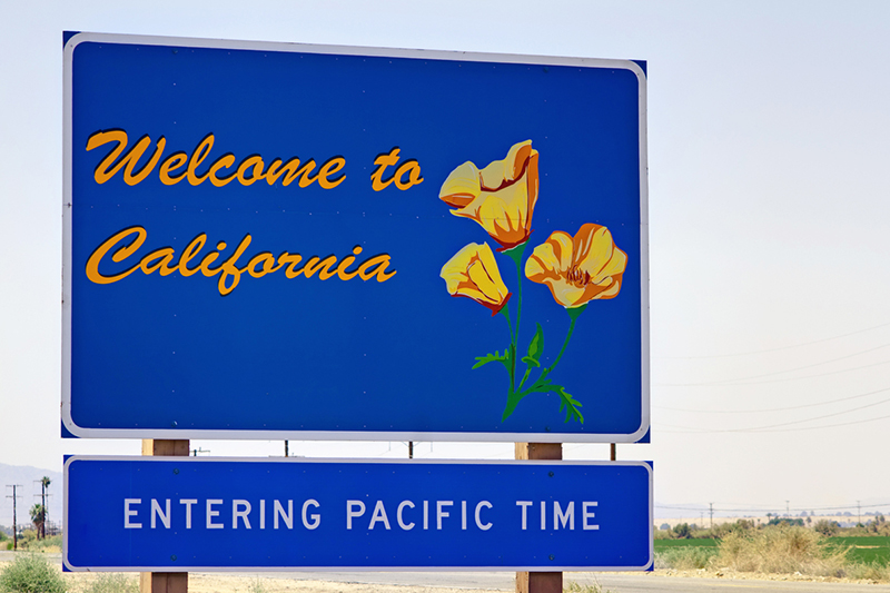 welcome, California, sign, state, road