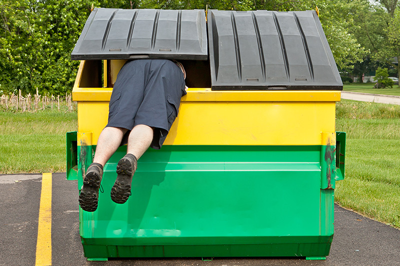 garbage bin, dumpster, man, dumpster diver