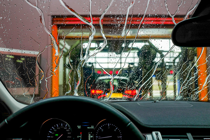 carwash, tunnel, conveyor, windshield, water, car, interior