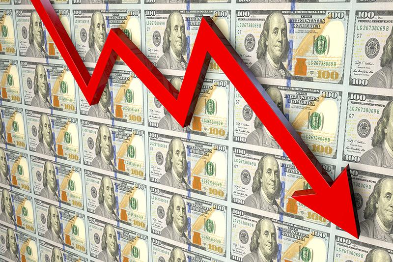 sales decline, slump, money, fall