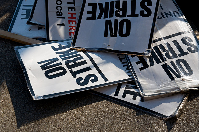 strike, signs, posters