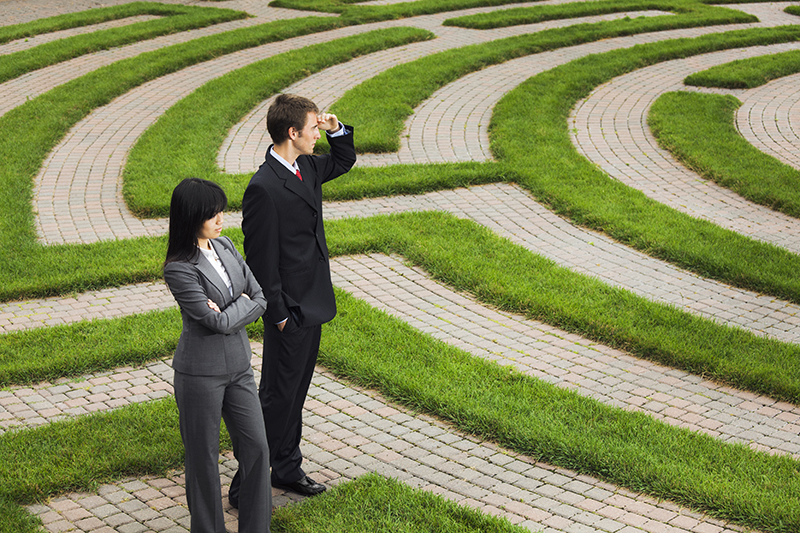 maze, path, businessman, businesswoman, changes