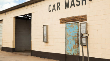 abandoned carwash, disrepair, self-serve