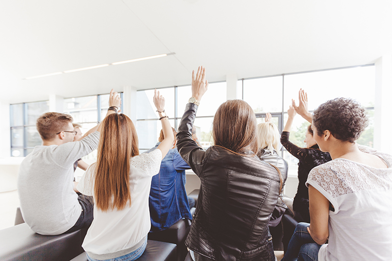 students, classroom, teaching, questions, raised hands, education, learning