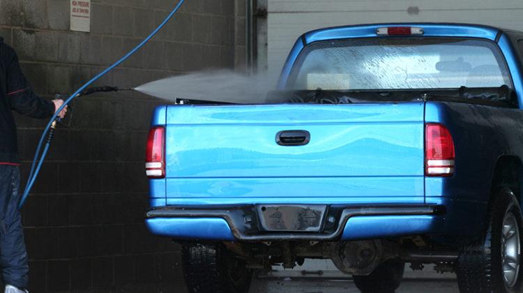 truck, carwash, self-serve, truck bed, water, hose, spray