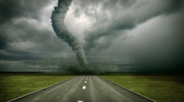 tornado, natural disaster, storm, dark sky, road