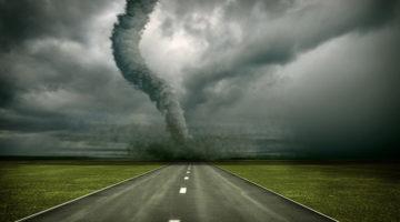 tornado, natural disaster, storm, dark sky, road