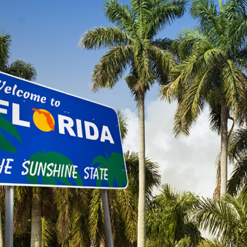 Florida, palm trees, welcome, sign