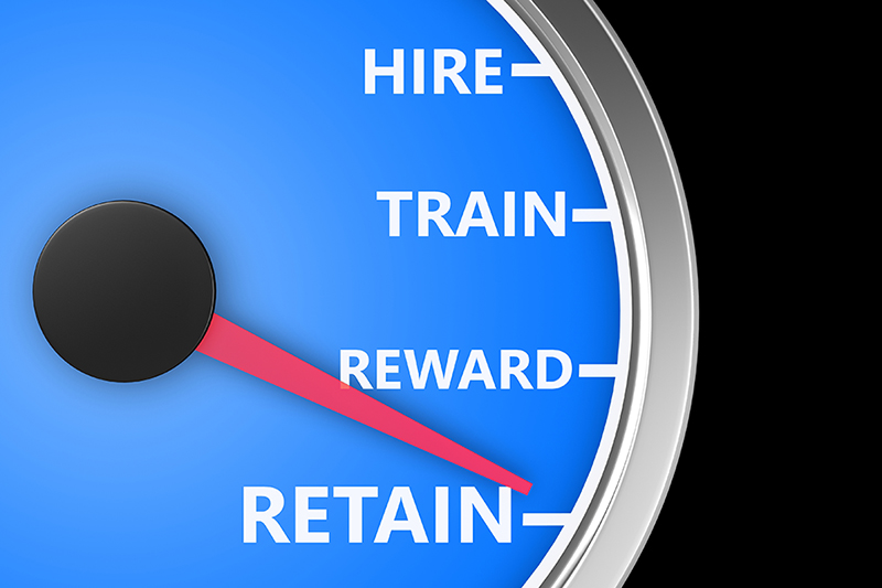 meter, hire, train, reward, retain, top employees