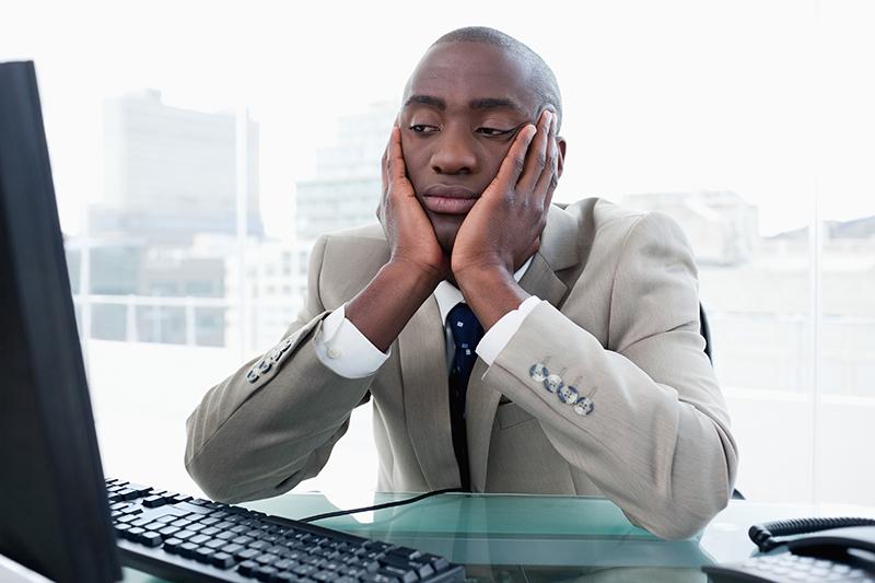 bored, businessman, computer, office