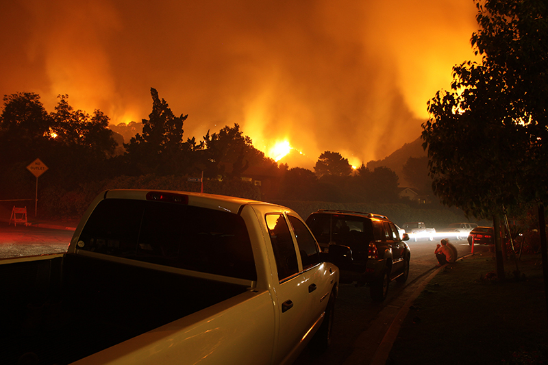 wildfire, ash, smoke, cars, truck, neighborhood, houses