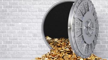 bank door, vault, money, coins, financing